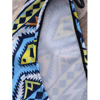 Tribal Print Push Up Halter Bikini - multicolorcolore M