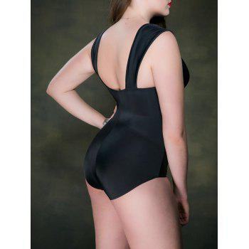 Plus Size Criss Cross Maillot - Noir 5XL