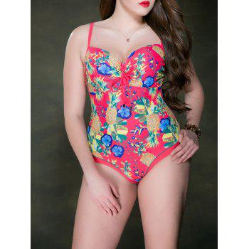 Floral Print Backless Swimsuit - Rouge 3XL