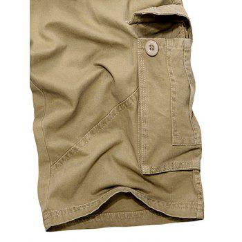Zipper Fly Multi Pockets Cargo Shorts - KHAKI 38