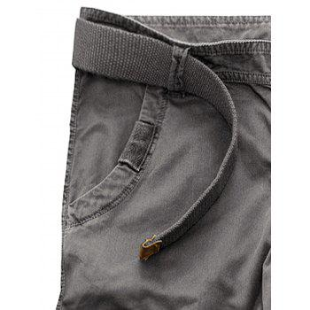 Multi-poches Pantalons Zipper Fly Slimming Cargo - Gris Fer 34