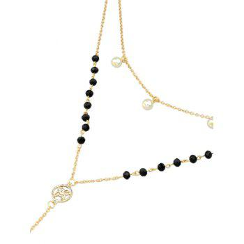 Faux Pearl Butterfly Crucifix Choker Necklace - GOLDEN
