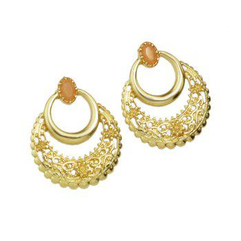 Artificial Gem Hollow Out Floral Engraving Earrings - COFFEE
