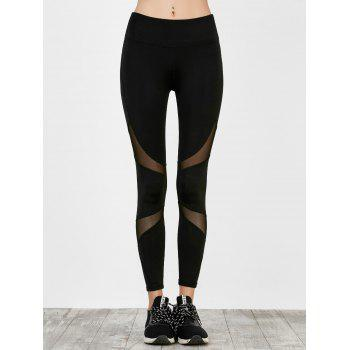 High Waist Mesh Panel Running Leggings - BLACK L
