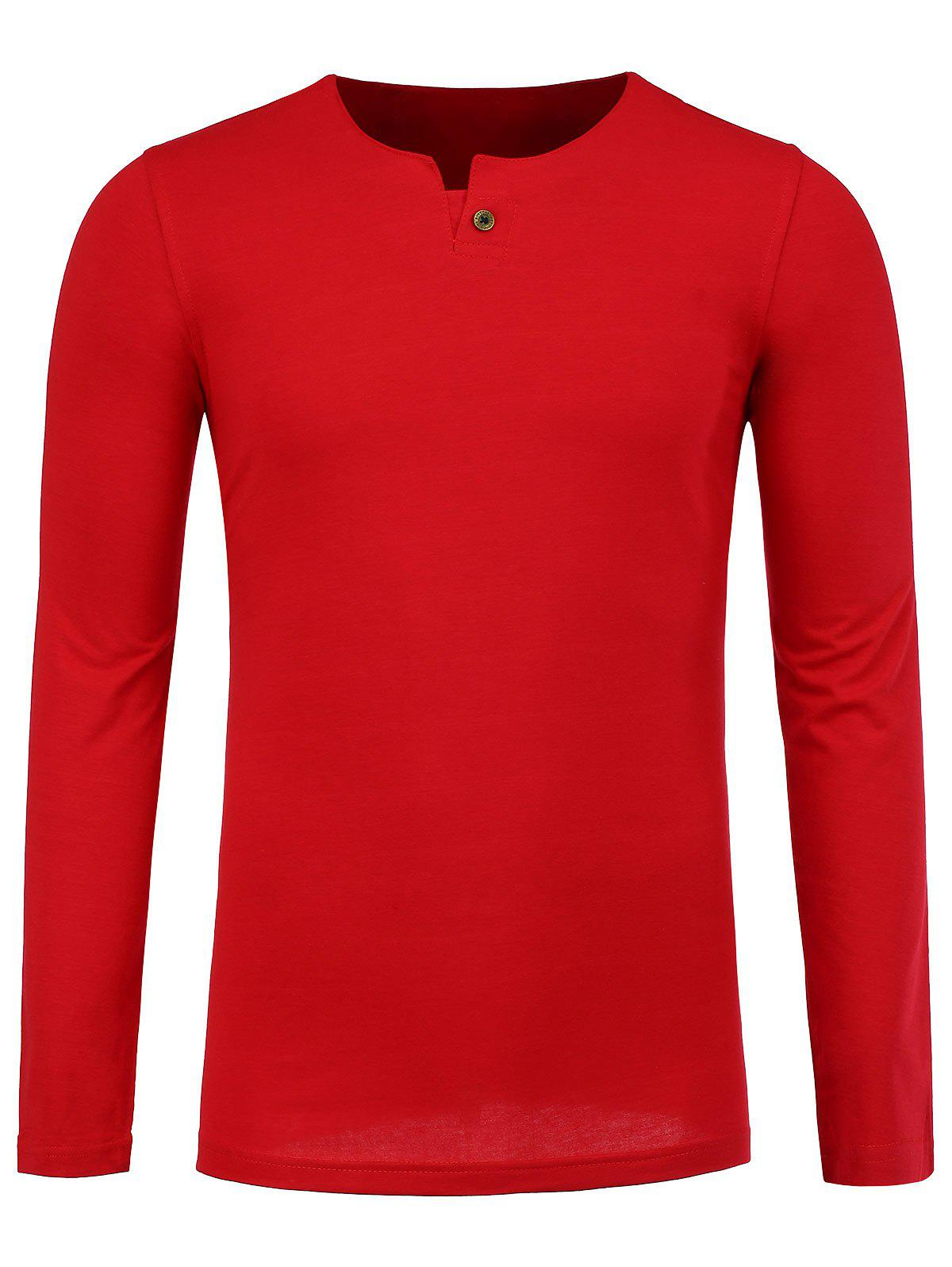 Notch Neck Long Sleeve Tee - RED XL