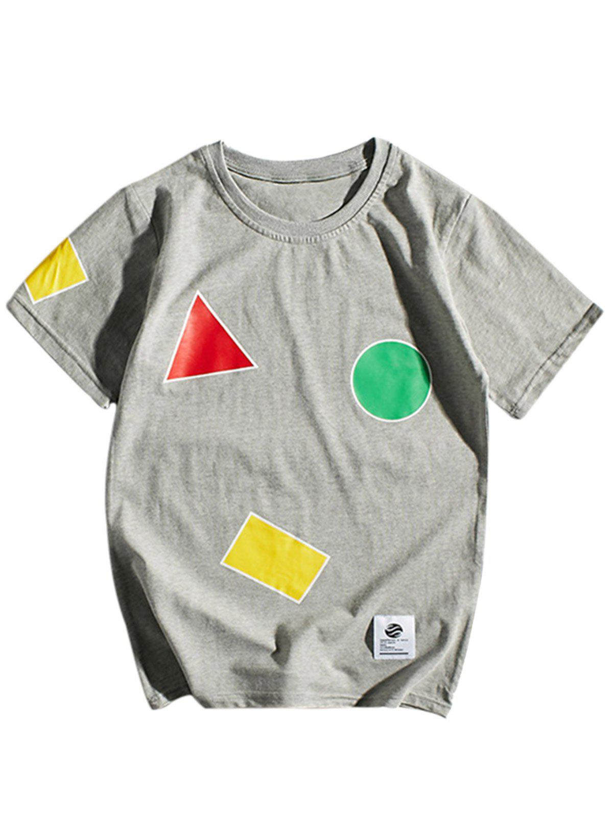 Crew Neck Geometric Pattern T-Shirt - GRAY 2XL