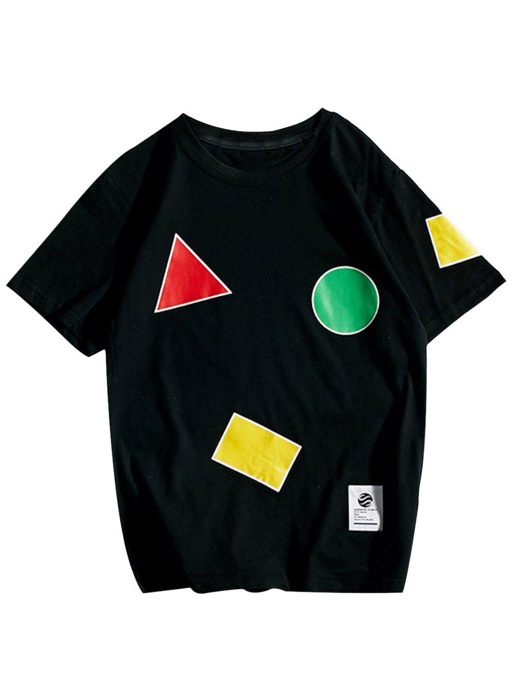 Crew Neck Geometric Pattern T-Shirt - BLACK L