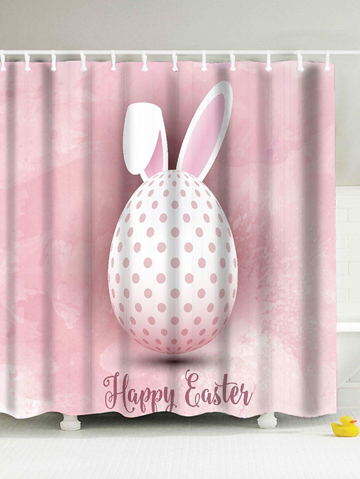 Happy Easter Rabbit Egg Eco-Friendly Shower Curtain - PINK 180*200CM