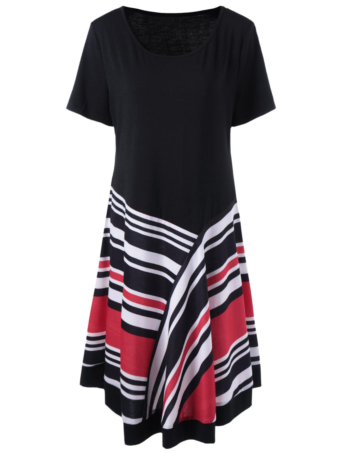 Plus Size Striped T-Shirt Dress - Noir XL