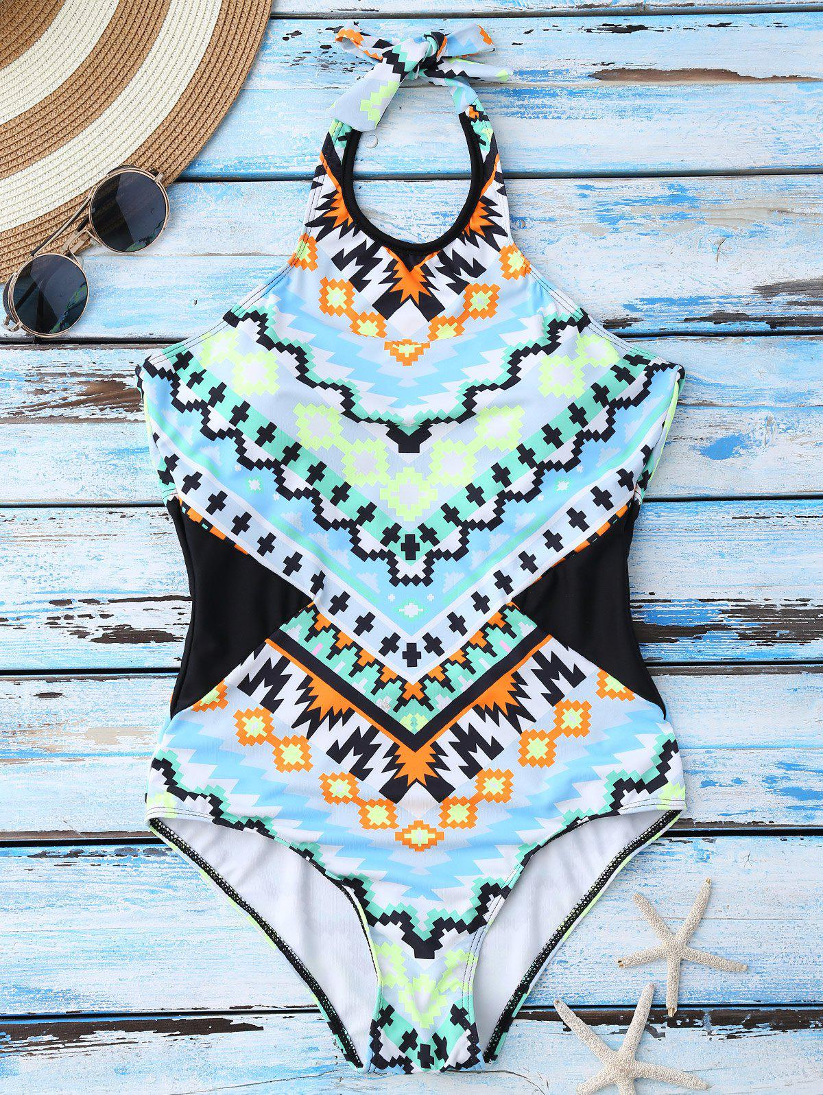 Geometrical Print One Piece Cute High Neck Swimsuits - BLUE M
