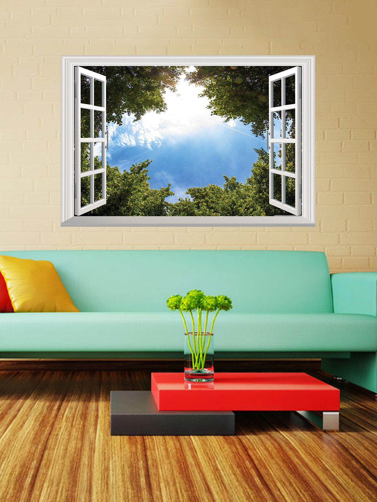 3D Tree Blue Sky Window Wall Sticker - GREEN 50*70CM