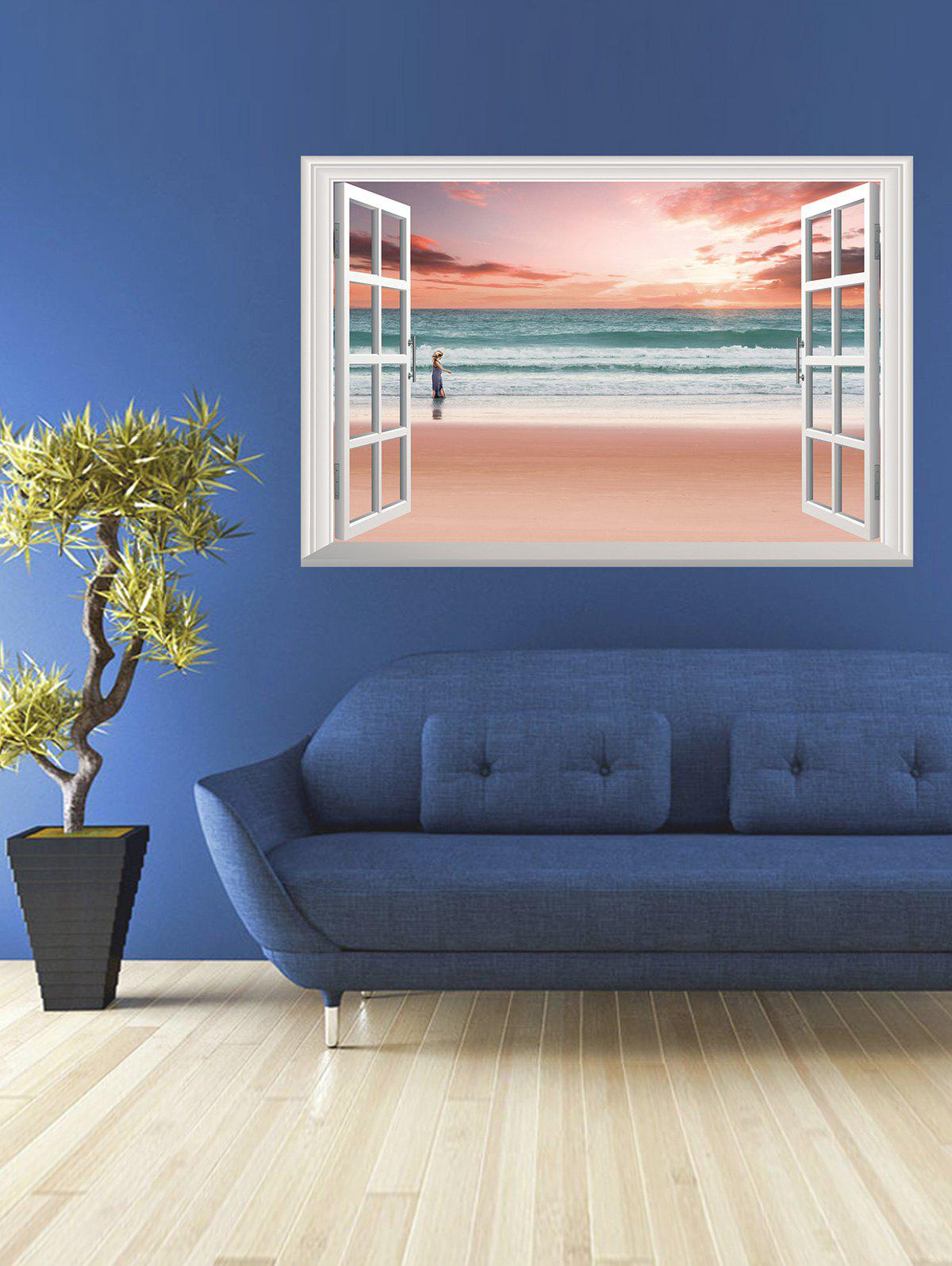 Removable 3D Seaside Sunset Fake Window Wall Sticker the afloat sunset dock wall sticker