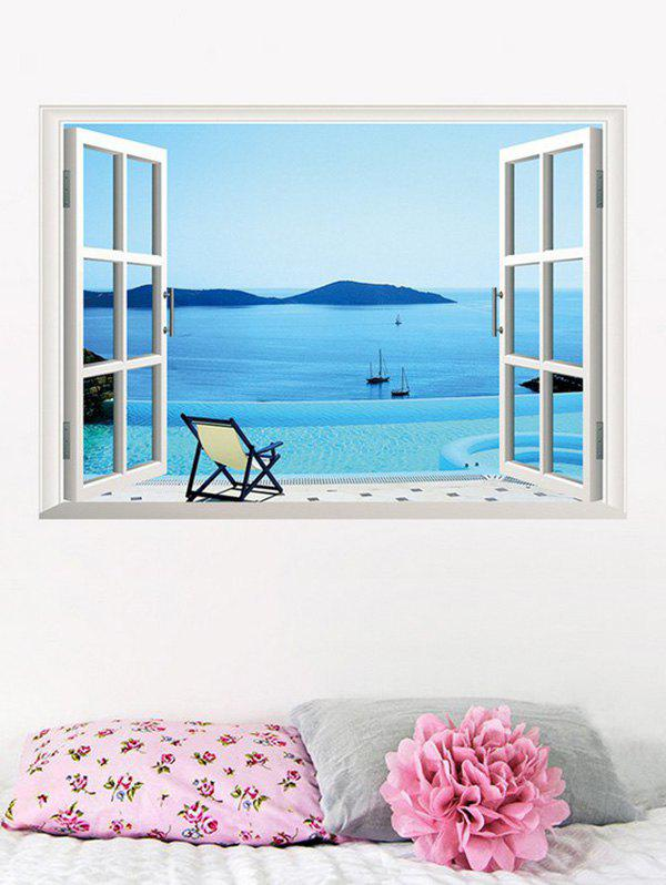 3D Seaside Swimming Pool Fake Window Wall Sticker 209554901