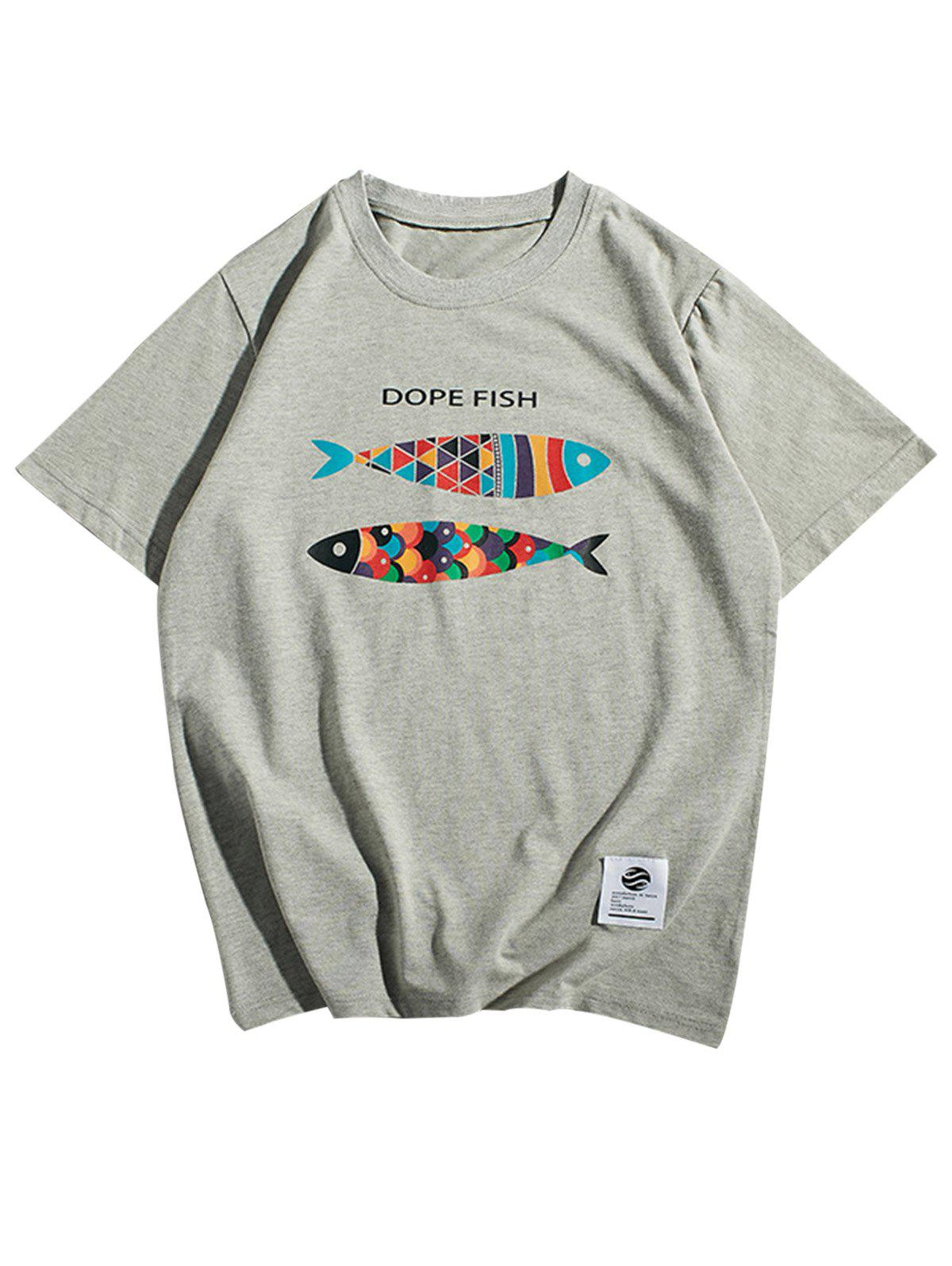 Short Sleeve Fish Print T-Shirt - GRAY L