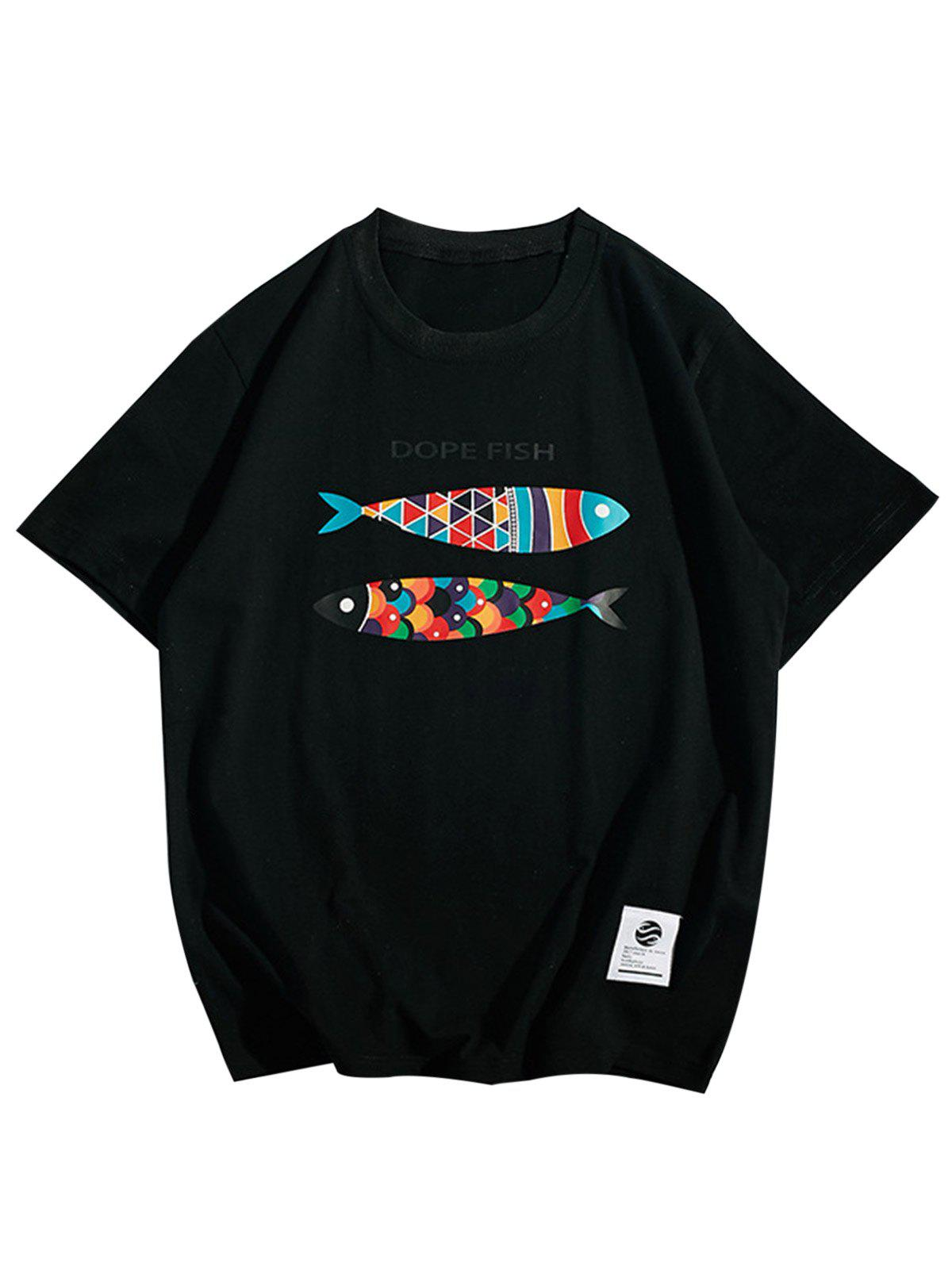 Short Sleeve Fish Print T-Shirt - BLACK 2XL