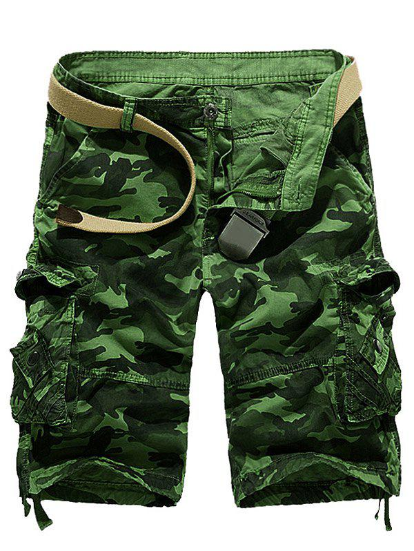Camouflage Stud Embellished Cargo Shorts - GRASS GREEN 32