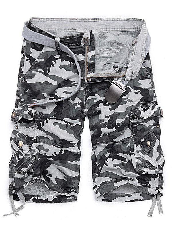 Camouflage Stud Embellished Cargo Shorts - WHITE GREY 36