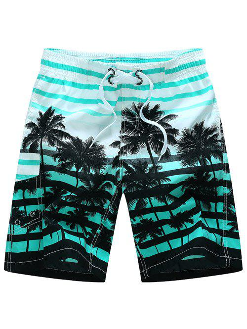 Striped Coconut Tree Shorts Print Board - Bleu 4XL
