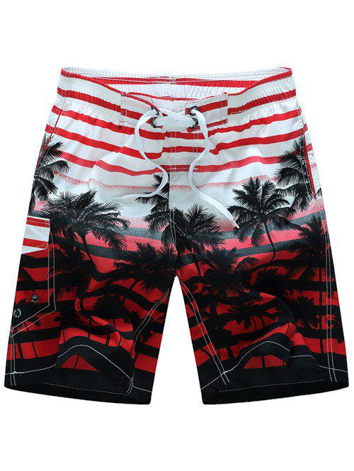 Striped Coconut Tree Shorts Print Board - Rouge XL