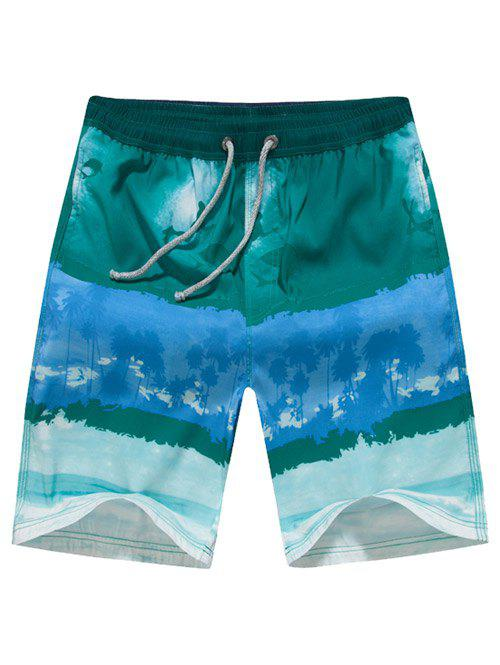 Color Block Drawstring Printed Board Shorts - GREEN XL
