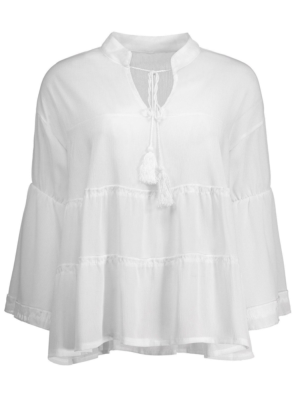 Manches cloche Tassel Plus Size Top - Blanc 3XL