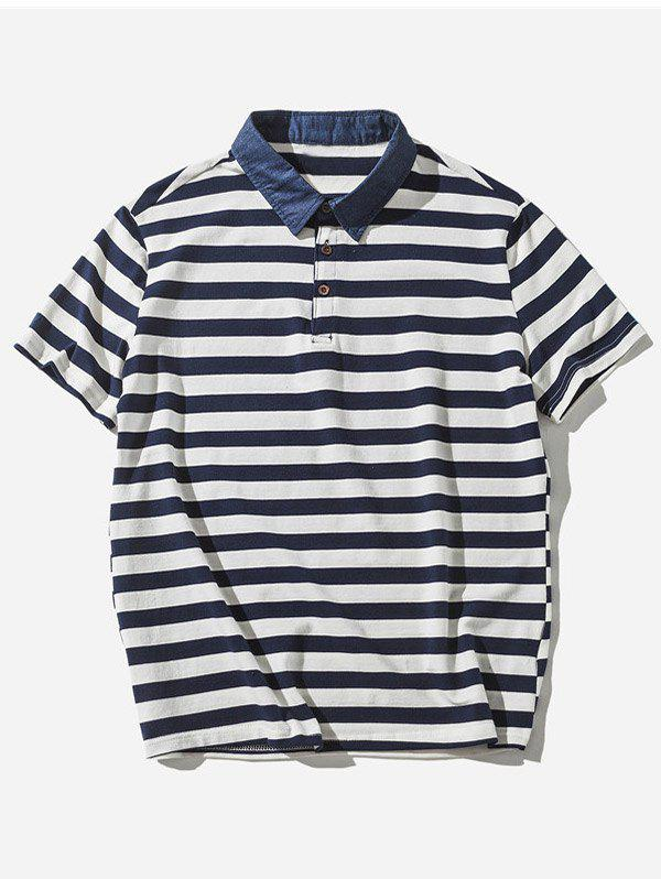 Striped Polo Shirt - BLUE L