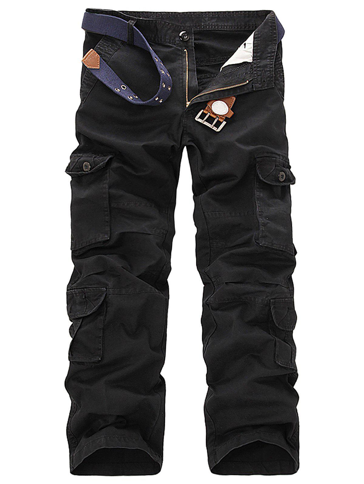 Slimming Pockets Design Cargo Pants - BLACK 34