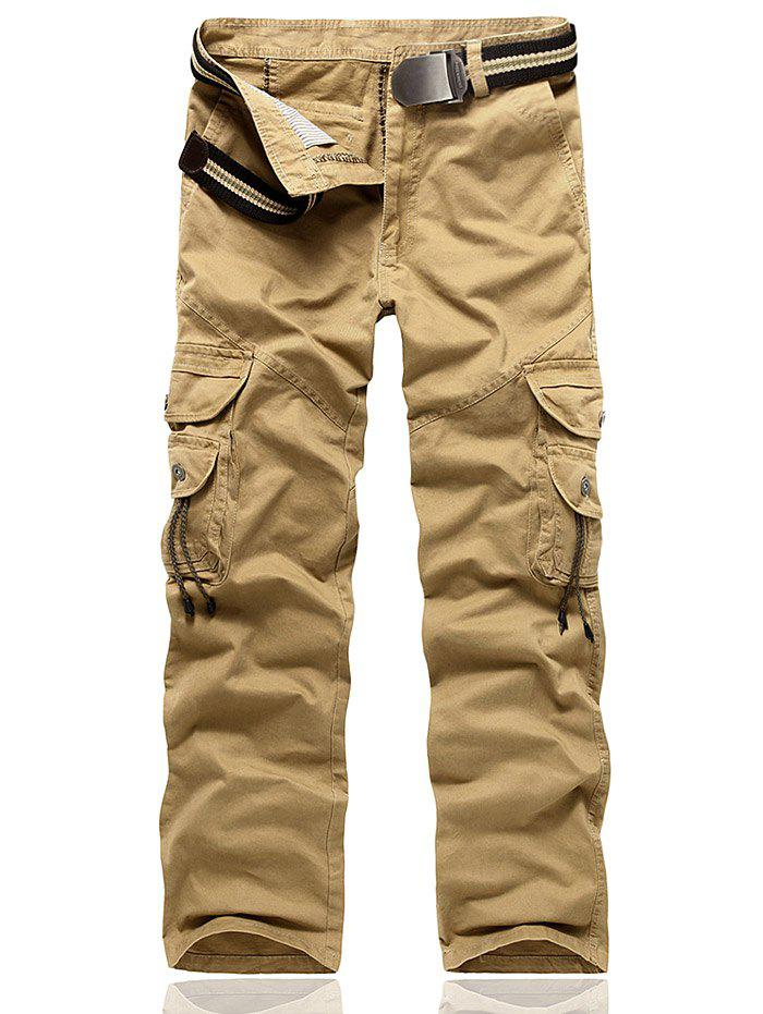 Multi Pocket String Embellished Cargo Pants - KHAKI 30
