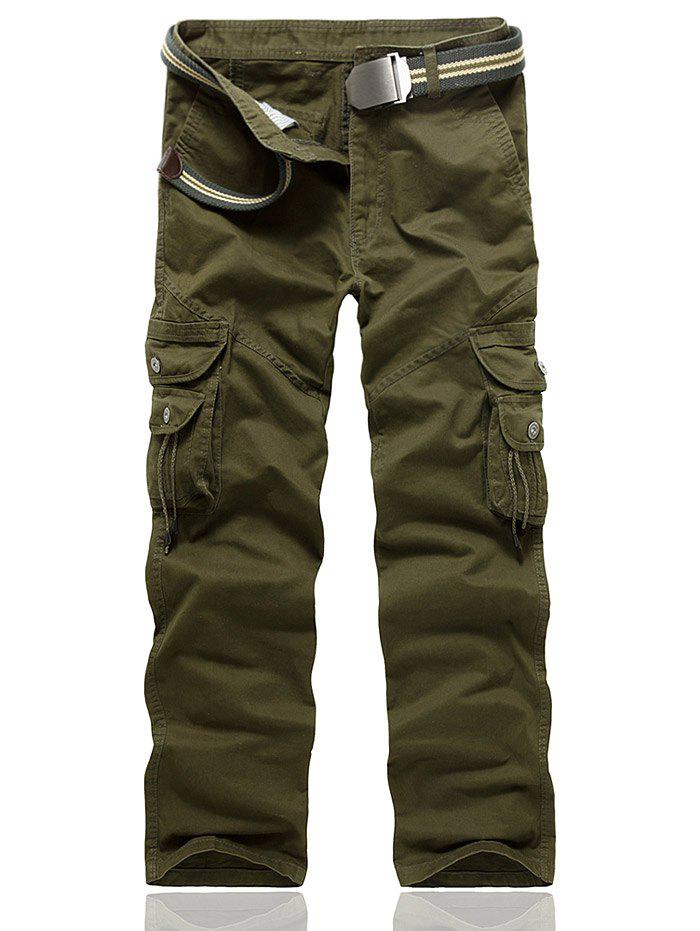 Multi Pocket String Embellished Cargo Pants - ARMY GREEN 38