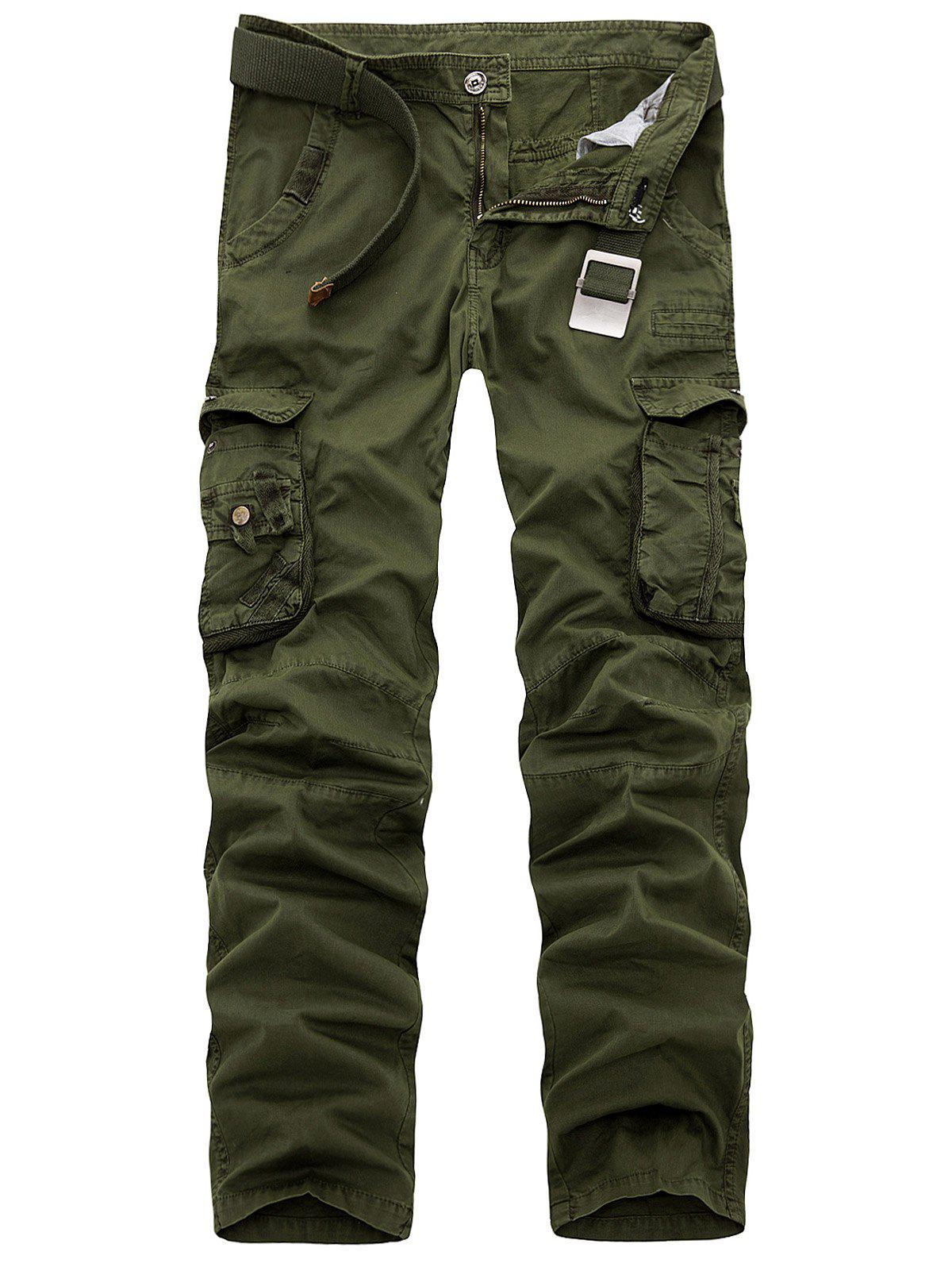 Multi Pockets Zipper Fly Slimming Cargo Pants - ARMY GREEN 38