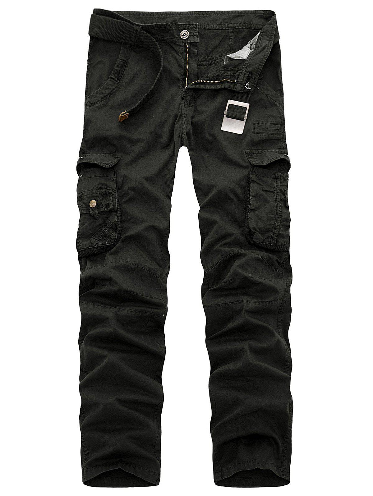 Multi Pockets Zipper Fly Slimming Cargo Pants - BLACK 38