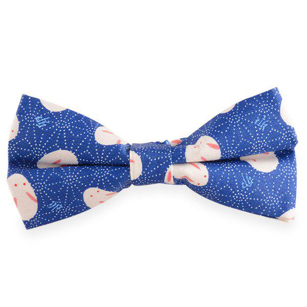 Little Rabbit Imprimer Cotton Blend Bow Tie - Bleu