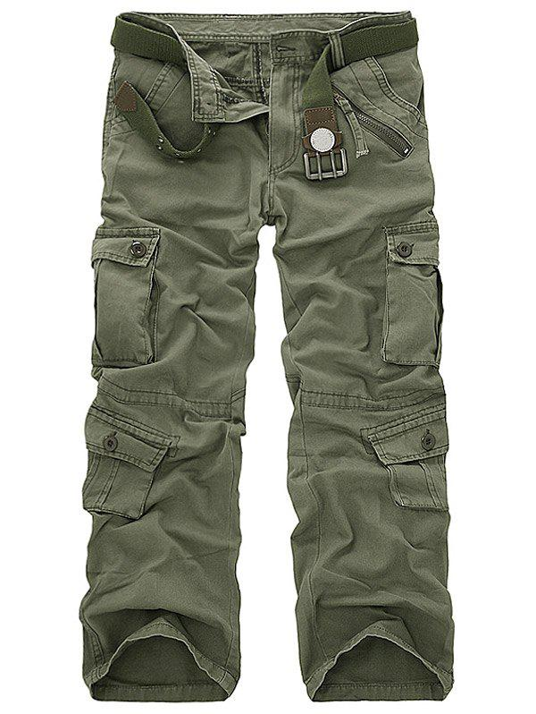 Cotton Blends Pockets Design Cargo Pants - ARMY GREEN 32