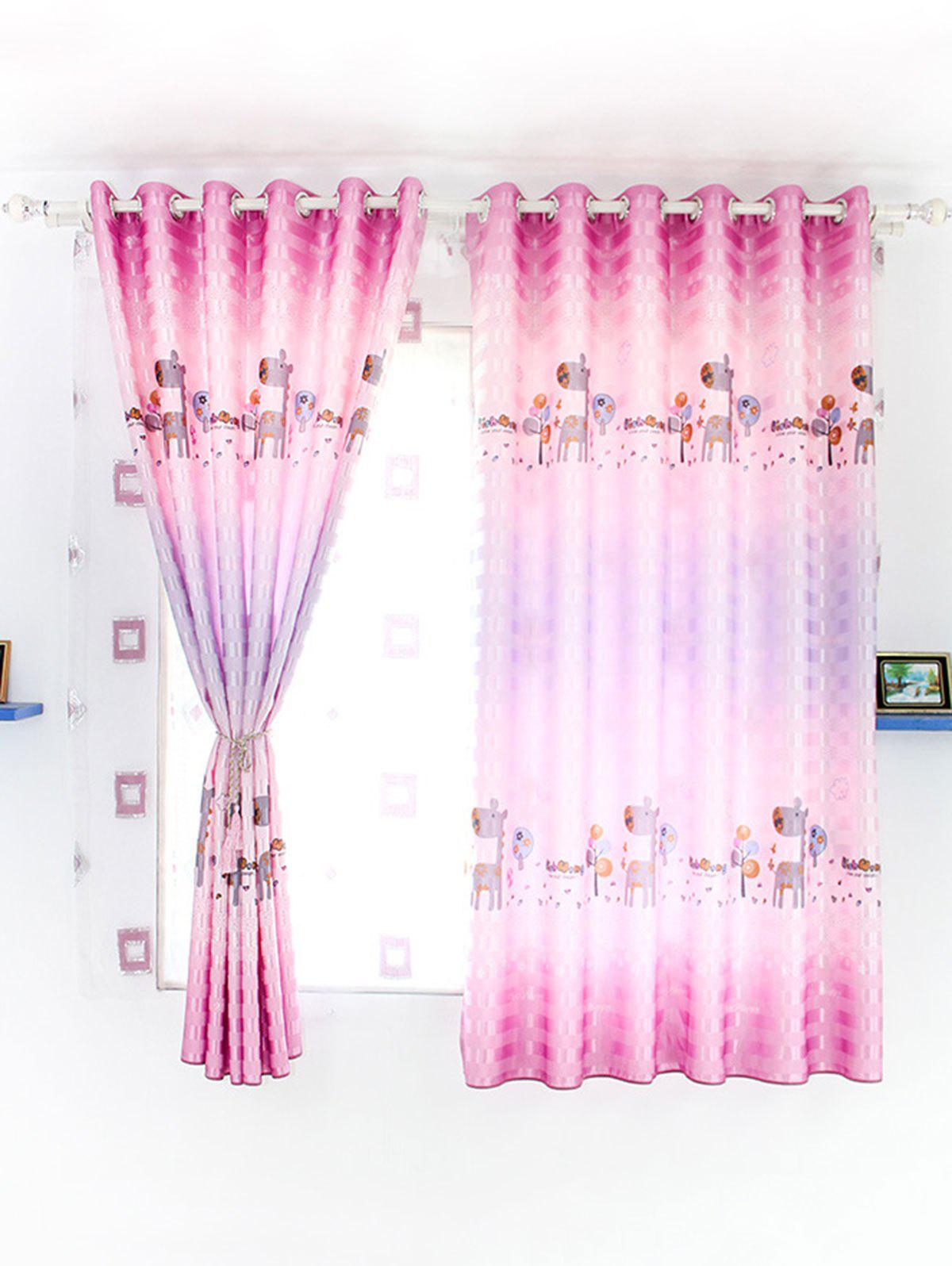 Kids Room Cartoon Grommet Top Window Blackout Curtain - PINK 100*200CM