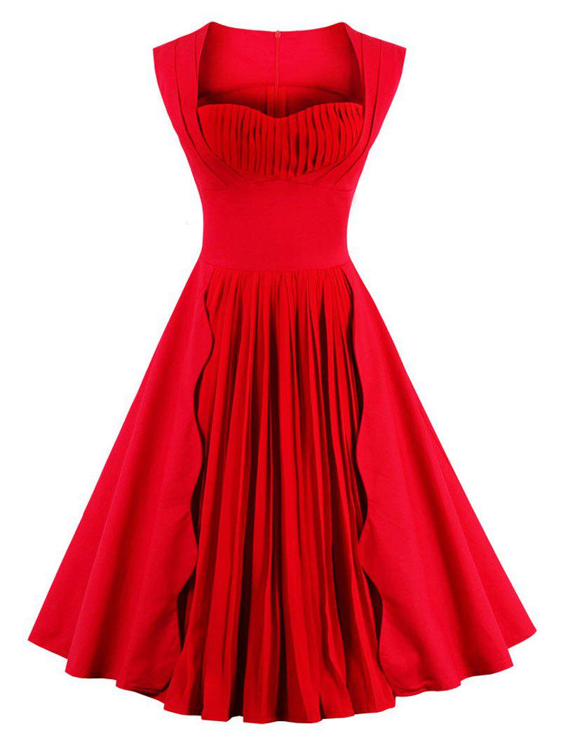Sweetheart Neckline Sleeveless Pleated Pin Up Swing Prom Dress - RED 2XL