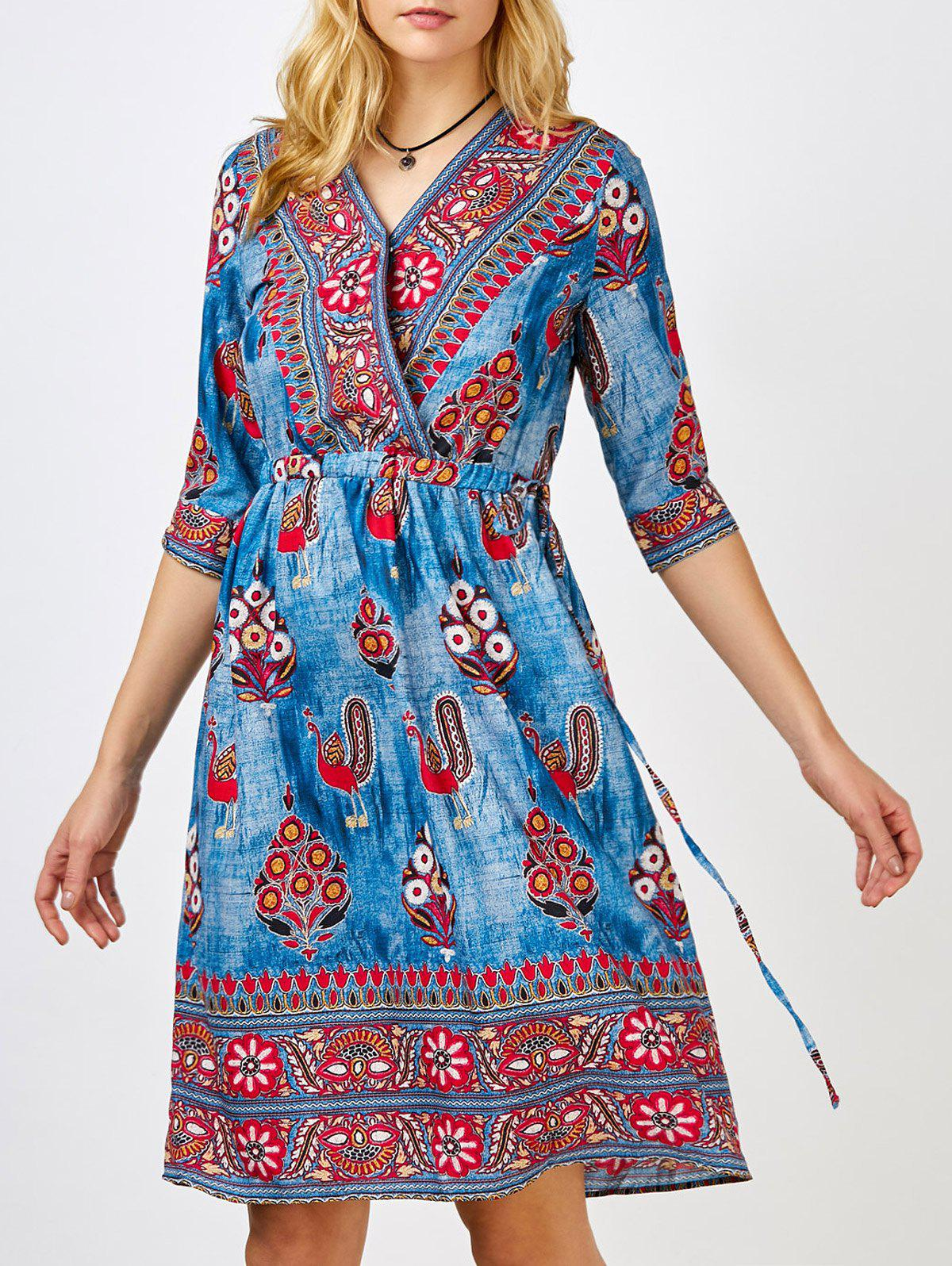 Floral Print Surplice Dress - Bleu L