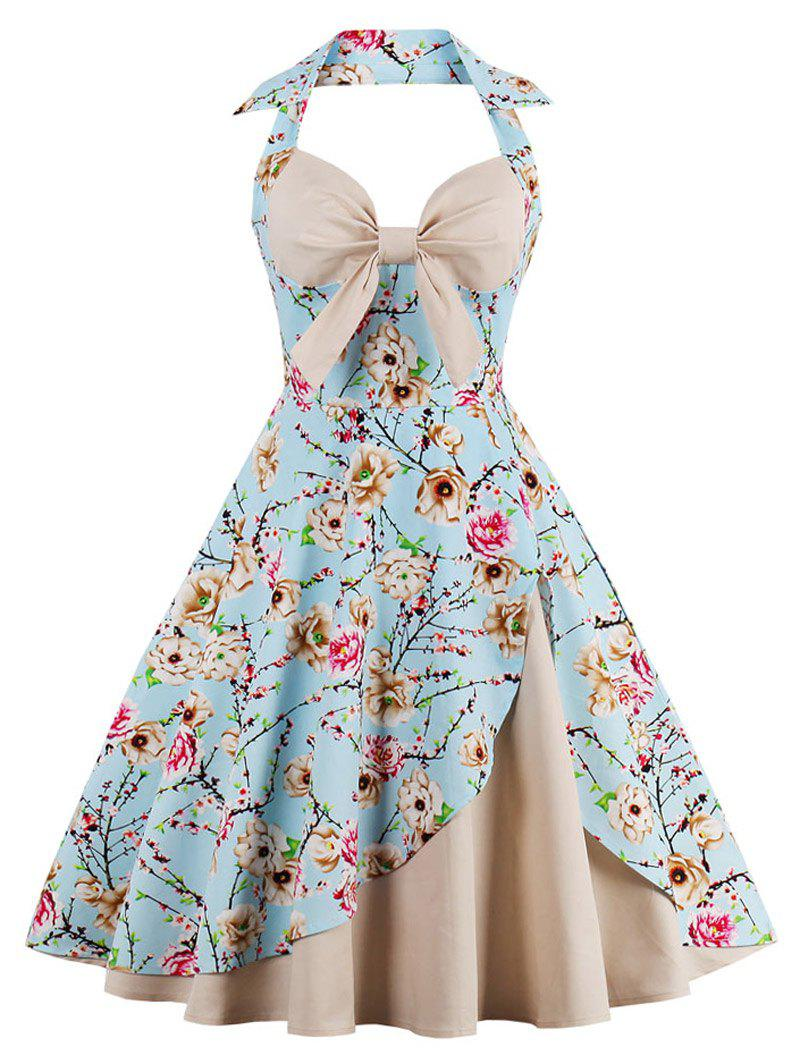 Halter Neck Floral Pin Up A Line Dress - APRICOT 2XL