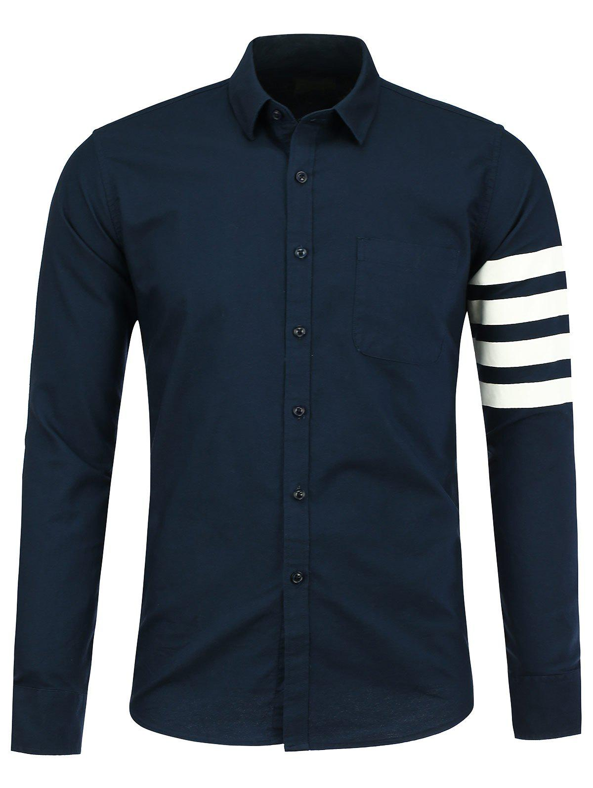 Long Sleeve Pocket Striped Shirt - CERULEAN 2XL