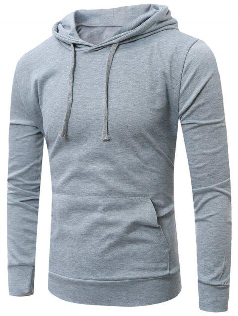 Sweat à Capuche Simple avec Poche Kangourou - Gris Clair XL