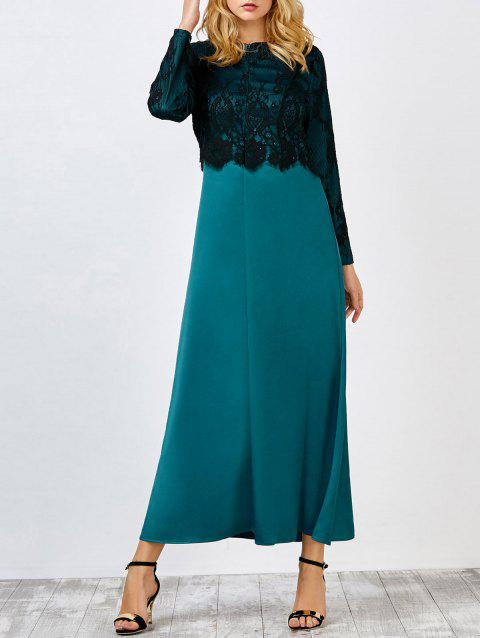 Lace Insert Maxi Dress - GREEN XL