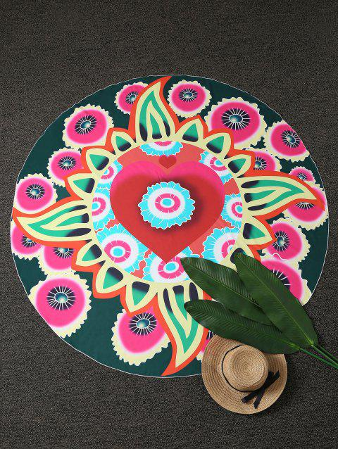 Round Throw Plage Floral Cover - multicolore
