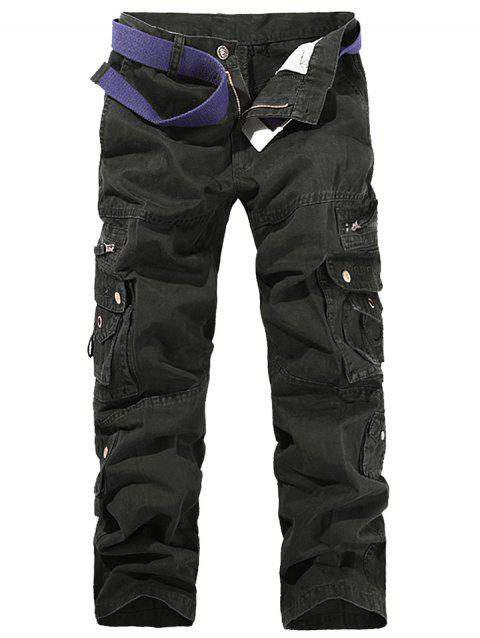 String Design Embroidered Cargo Pants - BLACK 34