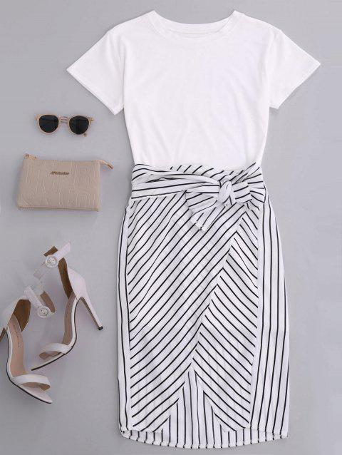 High Slit Striped Two Piece Dress - WHITE L