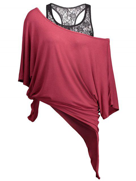 Handkerchief Batwing T-Shirt with Lace Tank Top - WINE RED XL