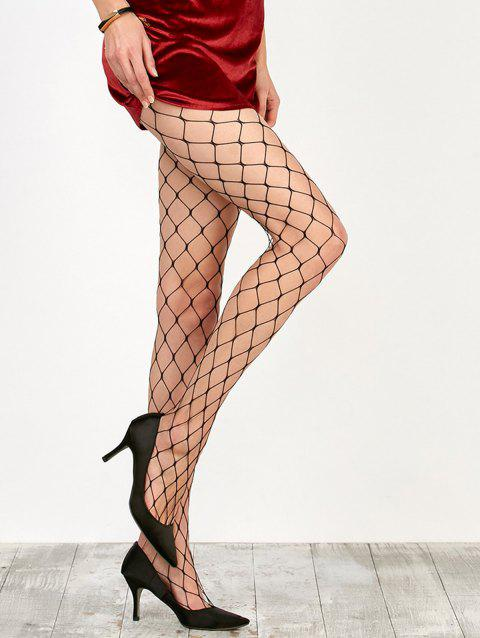 Large Loop Design Fishnet Pantyhose - BLACK ONE SIZE