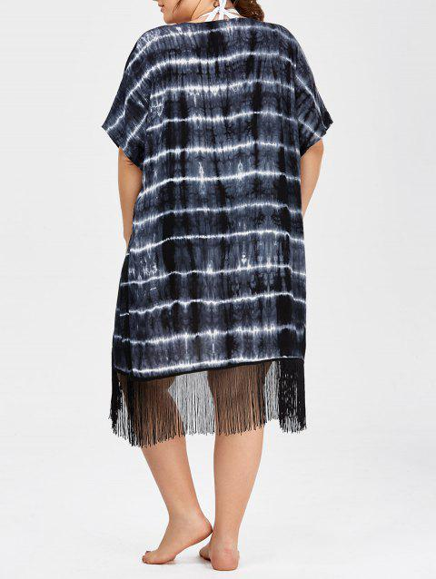 00f1df7821f 41% OFF  2019 Plus Size Tie Dye Fringe Long Beach Cover Up Kimono In ...