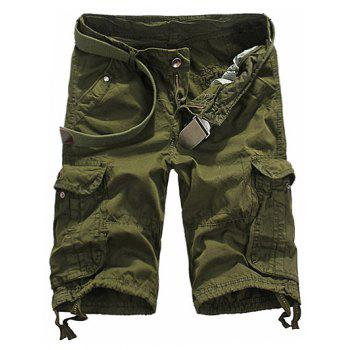 Loose Fit Straight Leg Multi-Pocket Lacing Cuffs Men's Zipper Fly Shorts