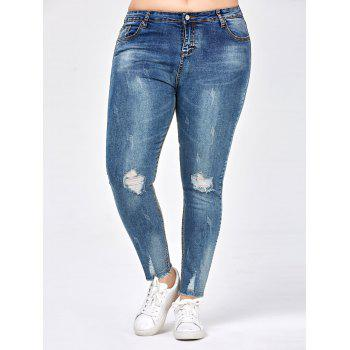 Frayed Hem Plus Size Ripped Jeans