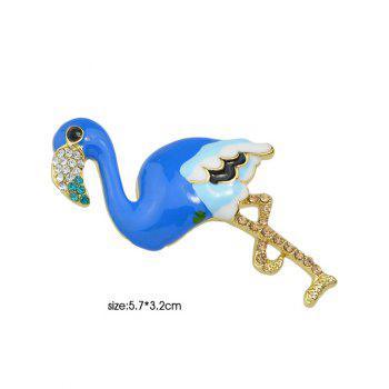 Bird Design Enamel Rhinestone Brooch - BLUE