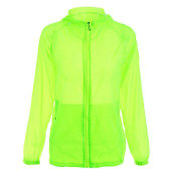 Lightweight Raglan Sleeve Hooded Sun Protection Skin Windbreaker - LIGHT GREEN ONE SIZE